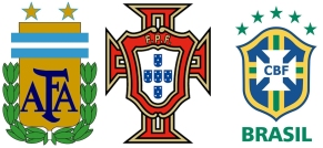 argentina portugal and brazil football logo